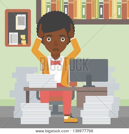 An african-american business woman in despair sitting at workplace with heaps of papers and clutching her head. Vector flat design illustration. Square layout.