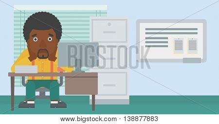 An african-american tired businessman sitting at workplace in front of computer monitor and clutching his head. Vector flat design illustration. Horizontal layout.