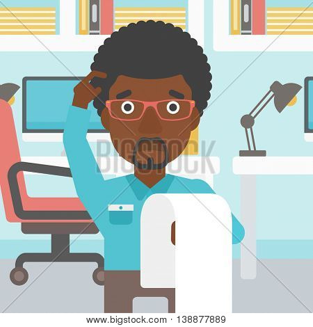An african-american worried businessman standing in the office and holding a long bill. Concept of business bankruptcy. Vector flat design illustration. Square layout.