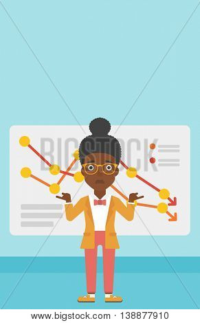 An african-american business woman standing on the background of a board with decreasing chart. Concept of business bankruptcy. Vector flat design illustration. Vertical layout.