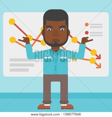 An african-american businessman standing on the background of a board with decreasing chart. Concept of business bankruptcy. Vector flat design illustration. Square layout.
