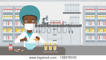 An african-american young female pharmacist in mask using mortar and pestle for preparing medicine in the laboratory. Vector flat design illustration. Horizontal layout.