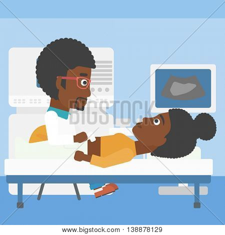 An african-american young doctor examining internal organs of a female patient on the modern ultrasound equipment at medical office. Vector flat design illustration. Square layout.