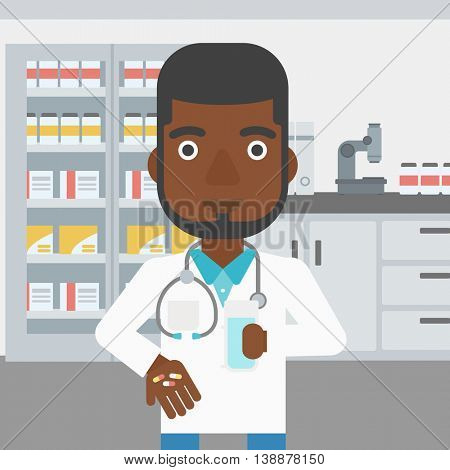 An african-american young pharmacist in medical gown holding in hands a glass of water and pills in the laboratory. Vector flat design illustration. Square layout.