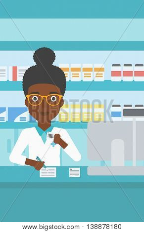An african-american young female pharmacist in medical gown standing at pharmacy counter, writing on clipboard and holding prescription in hand. Vector flat design illustration. Vertical layout.