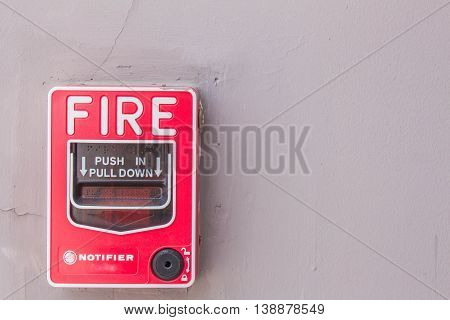 When the fire alarm mounted on the wall.