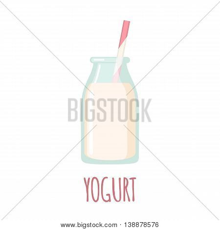Yogurt icon in flat style isolated on white background. Vector illustration
