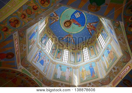 Ukraine, Kyiv - June 24, 2016: Dome With Ancient Frescoes On Walls On Decorative Background