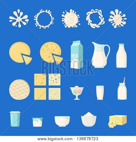 Set of dairy products in flat style isolated on white: milk yogurt butter cheese ice cream whipped cream milk splashes and so. Vector illustration.