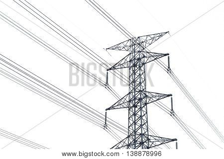 High voltage post or High-voltage tower isolated on white background. High voltage post isolated.Power energy and electricity infrastructure concept.