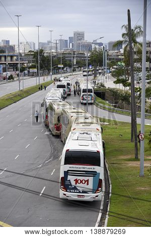 Rio de Janeiro Brazil - july 17 2016: Simulation arrival and bus departure in Maracana as will occur at the opening ceremony of the Olympic Games and streets are closed in the region