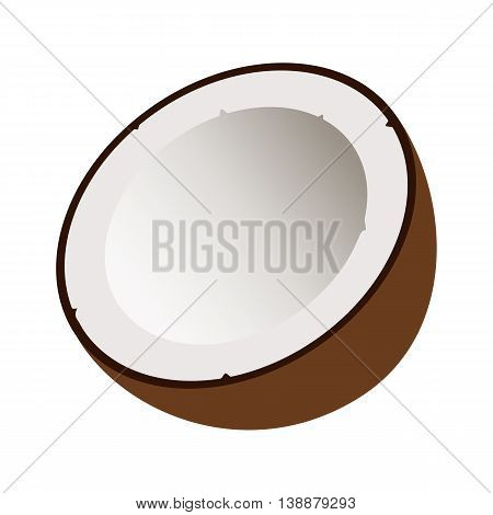 Flat icon coconut with shadow. Half of coconut. Vector illustration.