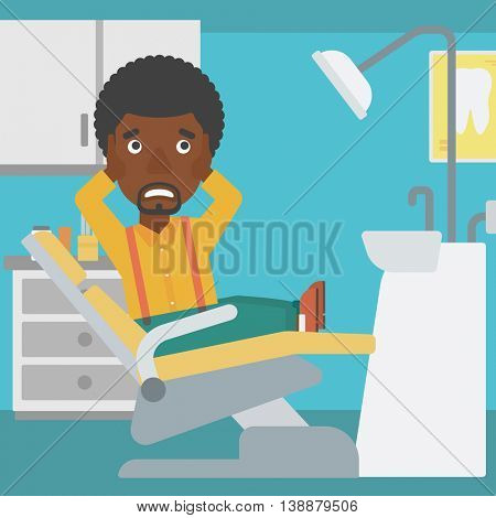An african-american young frightened patient sitting in dental chair at dentist office. Vector flat design illustration. Square layout.