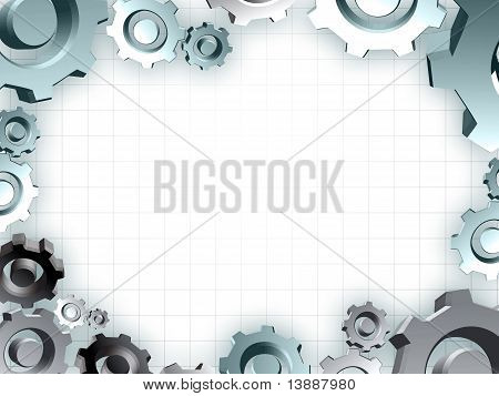 Gears Frame Industrial Technic Border
