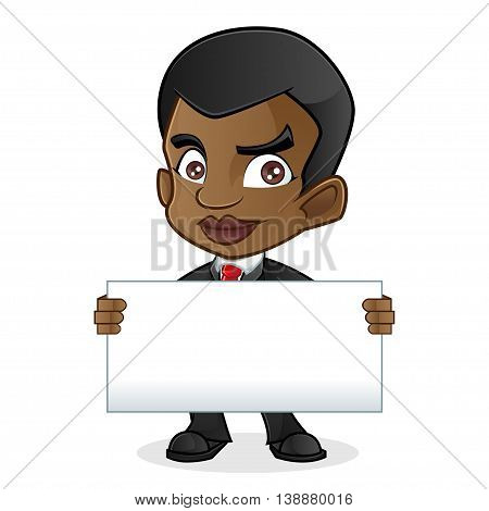 Black Business Man Holding Blank Sign Isolated In White Background