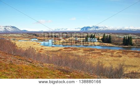 Panorama of the natural and historical park of Thingvellir in south west Iceland.