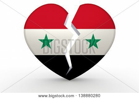 Broken White Heart Shape With Syria Flag