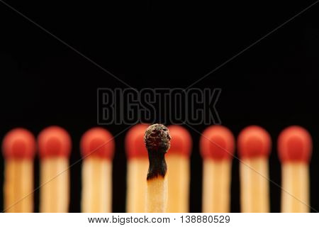 Burnt Match In Front Of Eight Red Wooden Matches