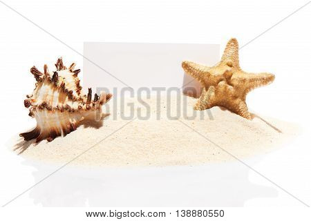 Visit Card, Starfish And Seashell On Pile Of Beach Sand