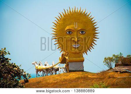 Golden Carriage Drawn By Horses. Big Sun. Murudeshwar. Temple In Karnataka, India
