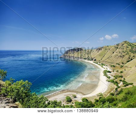 tropical paradise cristo rei beach near dili in east timor asia