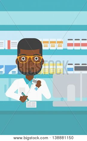 An african-american young pharmacist in medical gown standing at pharmacy counter, writing on clipboard and holding prescription in hand. Vector flat design illustration. Vertical layout.