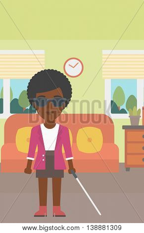 An african-american blind young woman in dark glasses standing with walking stick in the living room. Vector flat design illustration. Vertical layout.