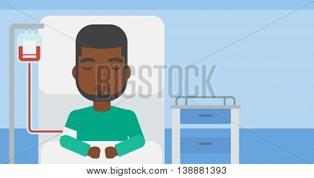 An african-american man lying in bed at hospital ward with equipment for blood transfusion. Vector flat design illustration. Horizontal layout.