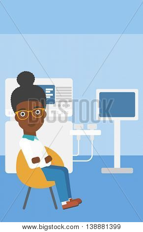An african-american female ultrasound doctor sitting with arms crossed near modern ultrasound equipment at medical office. Vector flat design illustration. Vertical layout.