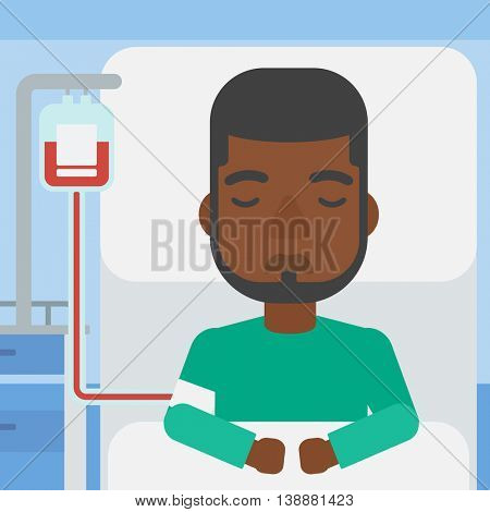 An african-american man lying in bed at hospital ward with equipment for blood transfusion. Vector flat design illustration. Square layout.