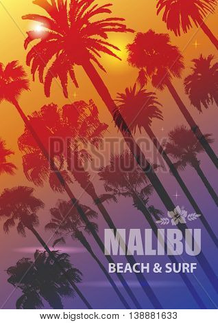 Exotic Travel Background with Palm Trees for Malibu, California. Summer Print for T-Shirt.