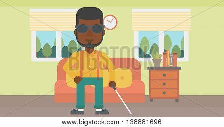 An african-american blind man in dark glasses standing with walking stick in the living room. Vector flat design illustration. Horizontal layout.