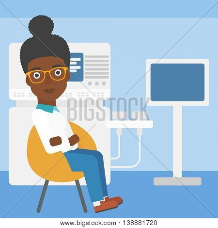 An african-american female ultrasound doctor sitting with arms crossed near modern ultrasound equipment at medical office. Vector flat design illustration. Square layout.