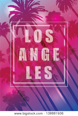 Exotic Travel Background with Palm Trees for Los Angeles, California. Summer Print for T-Shirt.