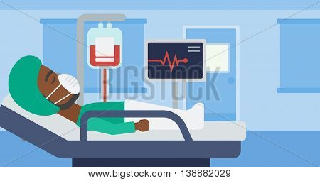 An african-american man in oxygen mask lying in hospital ward with heart rate monitor and equipment for blood transfusion. Vector flat design illustration. Horizontal layout.