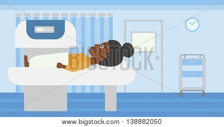 An african-american woman undergoes an open magnetic resonance imaging scan procedure in hospital rooom. Vector flat design illustration. Horizontal layout.