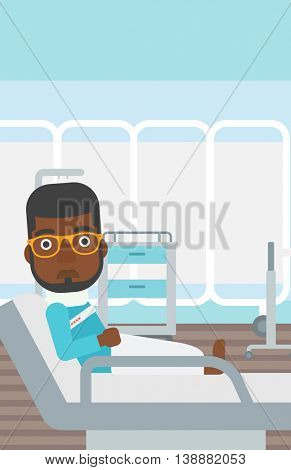 An african-american man with neck brace lying in bed in hospital ward and suffering from pain. Vector flat design illustration. Vertical layout.