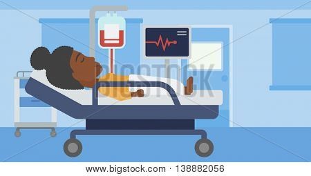 An african-american young woman lying in bed at hospital ward. Patient with heart rate monitor and equipment for blood transfusion in medical room. Vector flat design illustration. Horizontal layout.