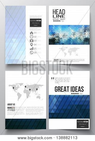 Set of business templates for brochure, magazine, flyer, booklet or annual report. Abstract colorful polygonal background, modern stylish triangle vector texture.