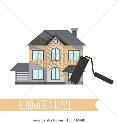 Concept Renovation Illustrations.house Remodeling,flat Design House With Paint Roller.vector