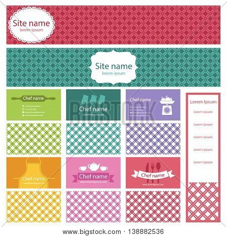 Set of business cards and header website for cooking theme. Vector illustration