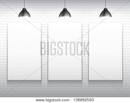 Three blank white poster frames inside gallery interior. Poster mock-up template. Vector illustration