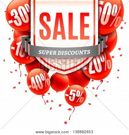Sale advertisment and red balloons with different discount values. Vector illustration