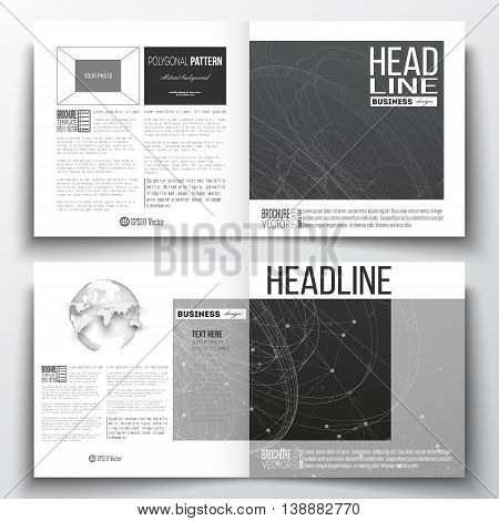 Set of annual report business templates for brochure, magazine, flyer or booklet. Molecular construction with connected lines and dots, scientific or digital design pattern on black background.
