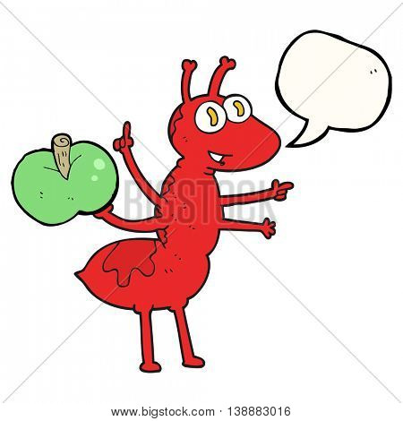 freehand drawn speech bubble cartoon ant with apple