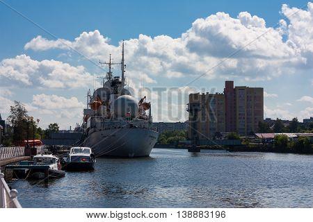 KALININGRAD RUSSIA - June 19: Museum of World oceanoutdoor exposition The ship of space communication