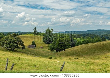 A view of an old barn in the foothills of the Blue Ridge Mountains in Carroll County Virginia