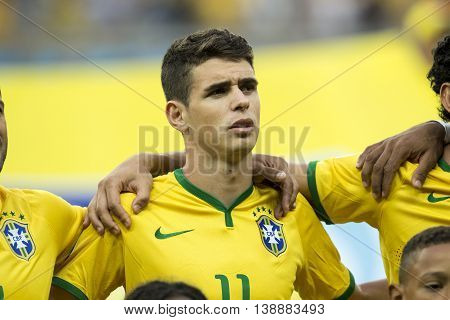 Belo Horizonte Brazil - july 08 2014: OSCAR of Brazil during the FIFA 2014 World Cup. Brazil is facing Germany in the semi-finals at Mineirao Stadium