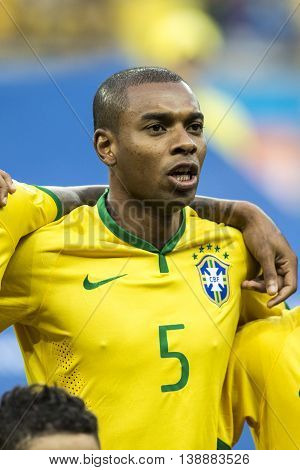 Belo Horizonte Brazil - july 08 2014: FERNANDINHO of Brazil during the FIFA 2014 World Cup. Brazil is facing Germany in the semi-finals at Mineirao Stadium
