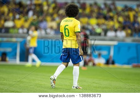Belo Horizonte Brazil - july 08 2014: MARCELO of Brazil during the FIFA 2014 World Cup. Brazil is facing Germany in the semi-finals at Mineirao Stadium